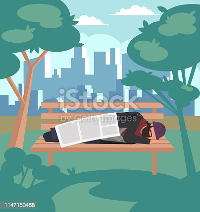 Homeless man character sleeping on bench in public park. Social homeless poverty concept. Vector flat cartoon graphic design