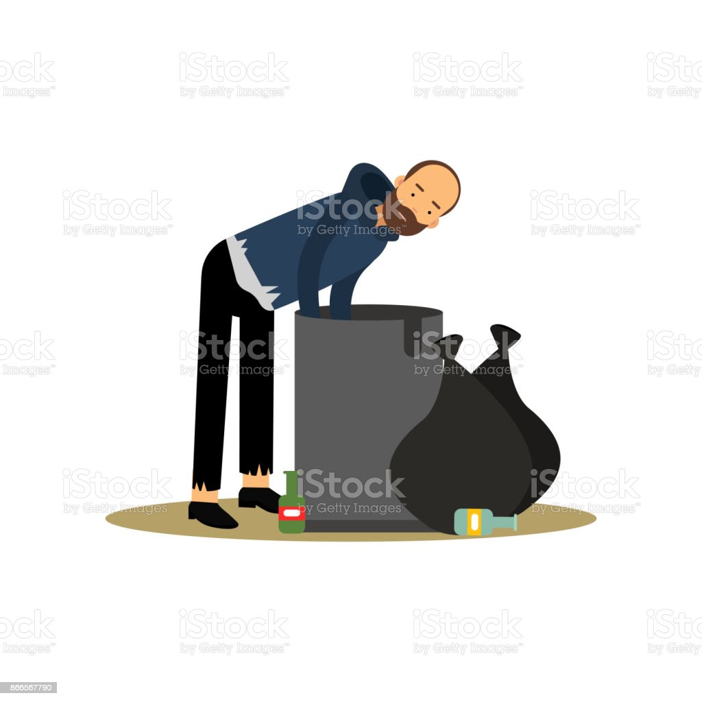 Homeless Man Looking For Food In A Trash Can Unemployment Male Needing For  Help Cartoon Vector Illustration Stock Illustration   Download Image Now