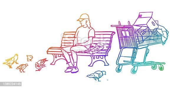 istock Homeless Man On A Park Bench Rainbow 1285234145