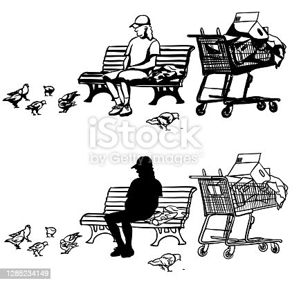 istock Homeless Man On A Park Bench Silhouette 1285234149