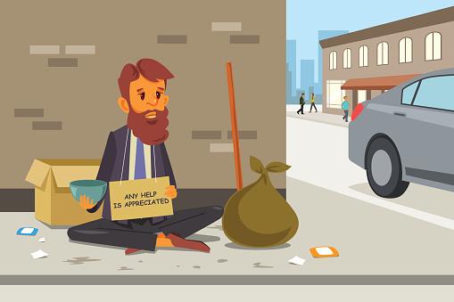 Homelessness stock illustrations