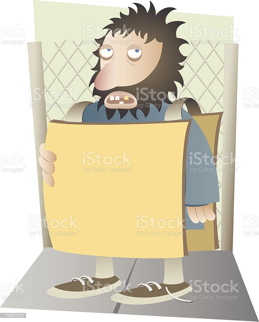Homeless person holding blank sign royalty-free stock vector art