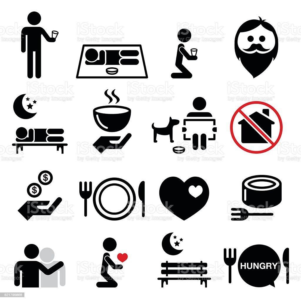 Homeless, poverty, man begging for money icons set vector art illustration
