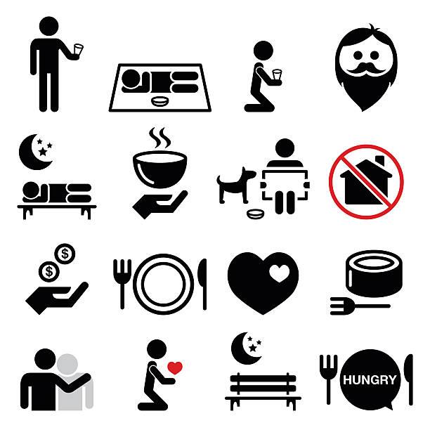 bildbanksillustrationer, clip art samt tecknat material och ikoner med homeless, poverty, man begging for money icons set - empty plate