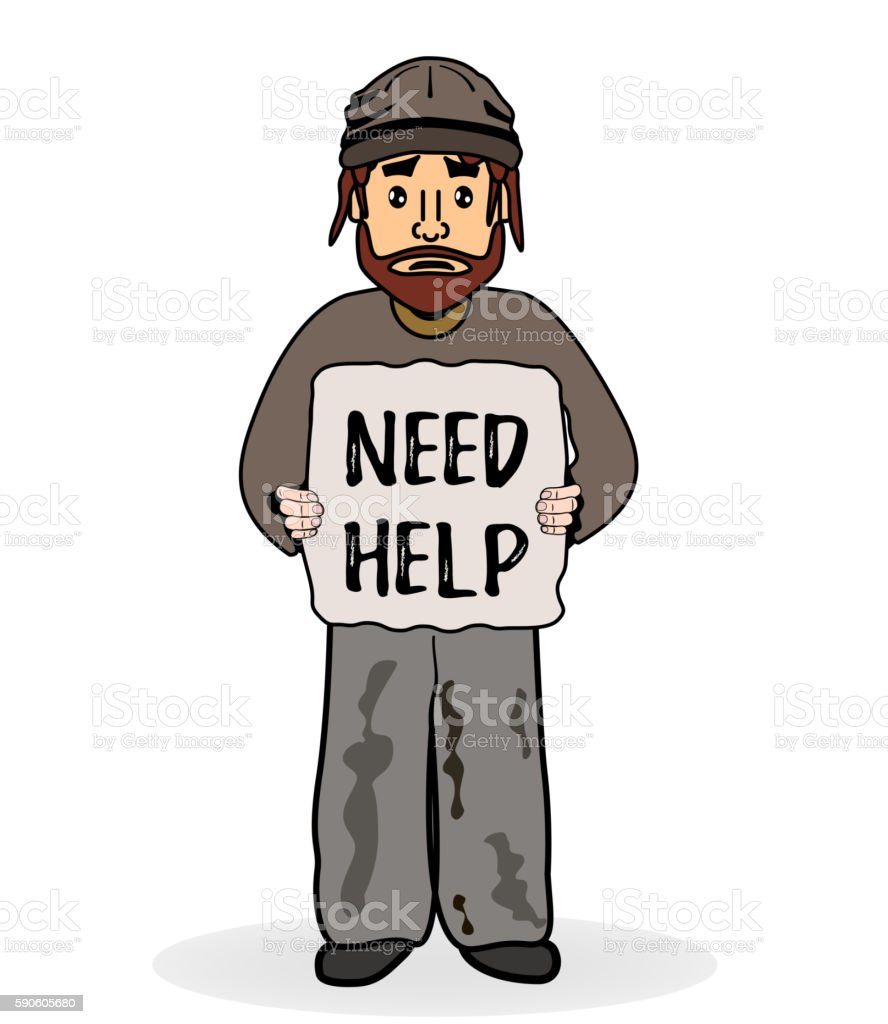 Homeless sad man without shelter and beg for help. vector art illustration