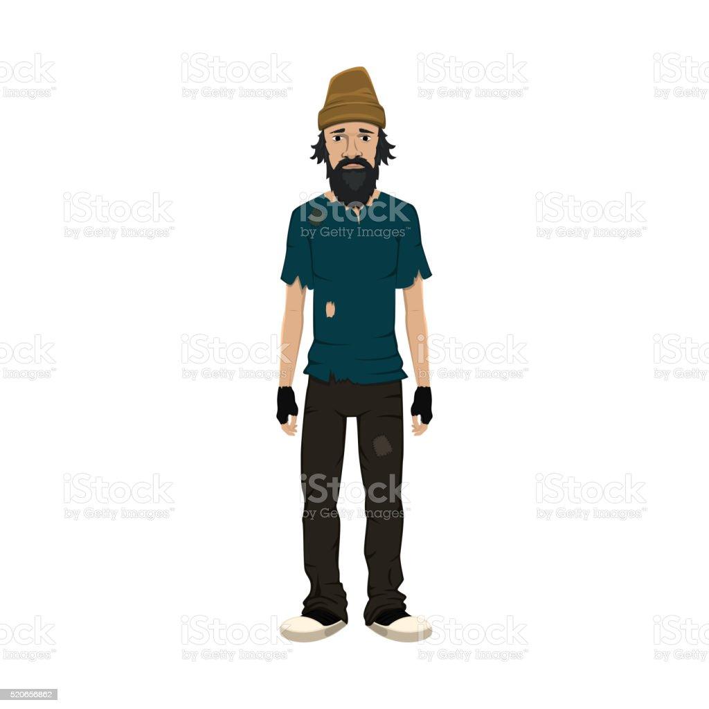 Homeless skinny shaggy man. vector art illustration