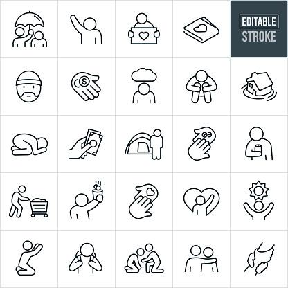 Homeless Thin Line Icons - Editable Stroke