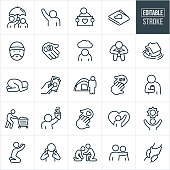 A set homeless icons that include editable strokes or outlines using the EPS vector file. The icons include homeless people in different situations. They include a person holding an umbrella over a homeless person, a homeless person reaching out for help, a homeless person holding a sign, a homeless man, hand with money, depressed homeless person, sinking house, desperate homeless person, giving cash, homeless person and a tent, hand taking pills, homeless person holding a can of alcohol, homeless person pushing belongings in a shopping cart, homeless person begging for money, home, clasped hands, good samaritan, helping hand, arm around shoulder and a homeless person praying to name a few.