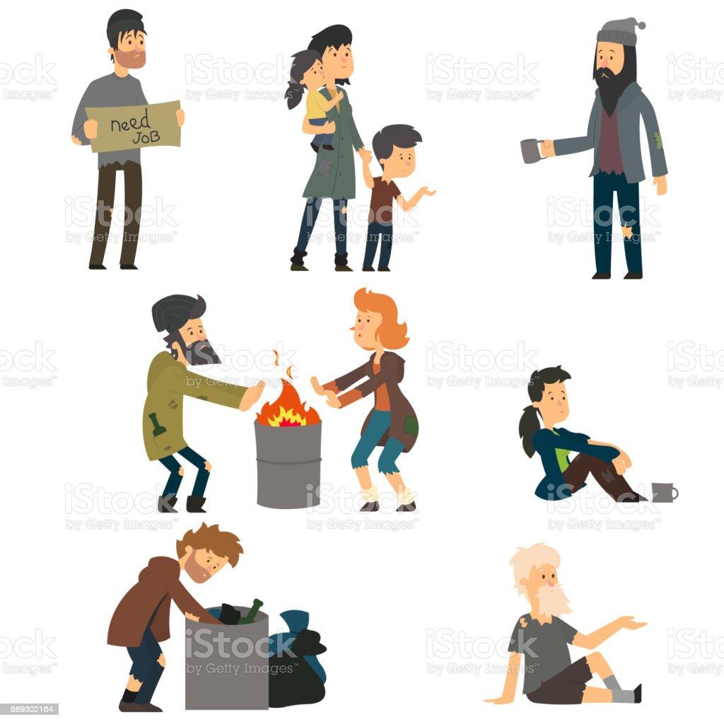 Homeless. vector art illustration