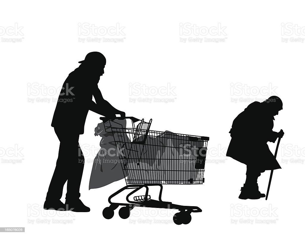 Homeless Vector Silhouette vector art illustration