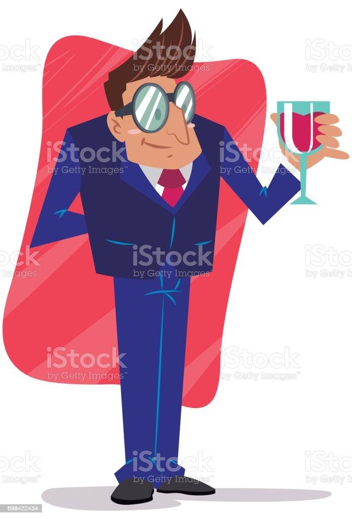 homem tomando vinho vector art illustration