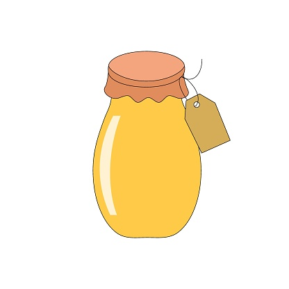 Homemade apple jam preserves in glass jar with paper cover lid and brown Kraft tag with copy space