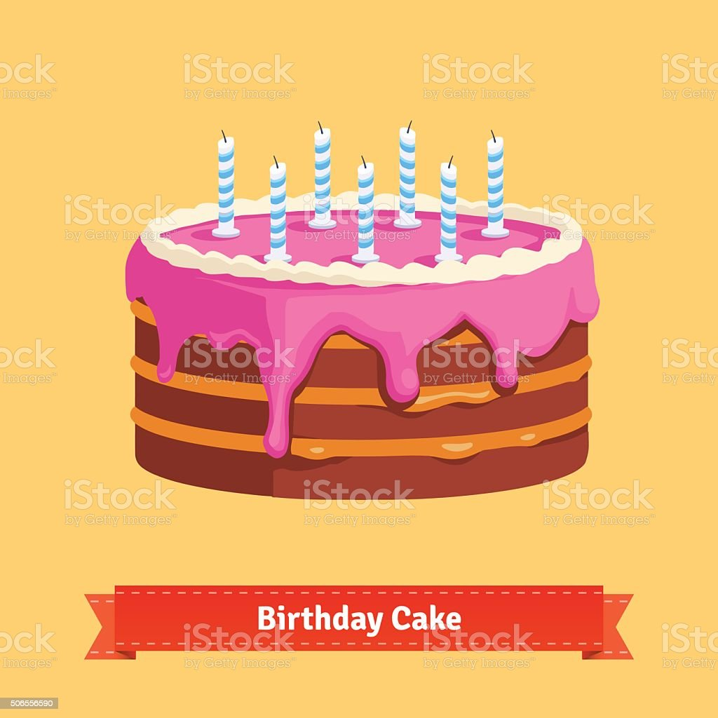Homemade birthday cake with a pink frosting vector art illustration