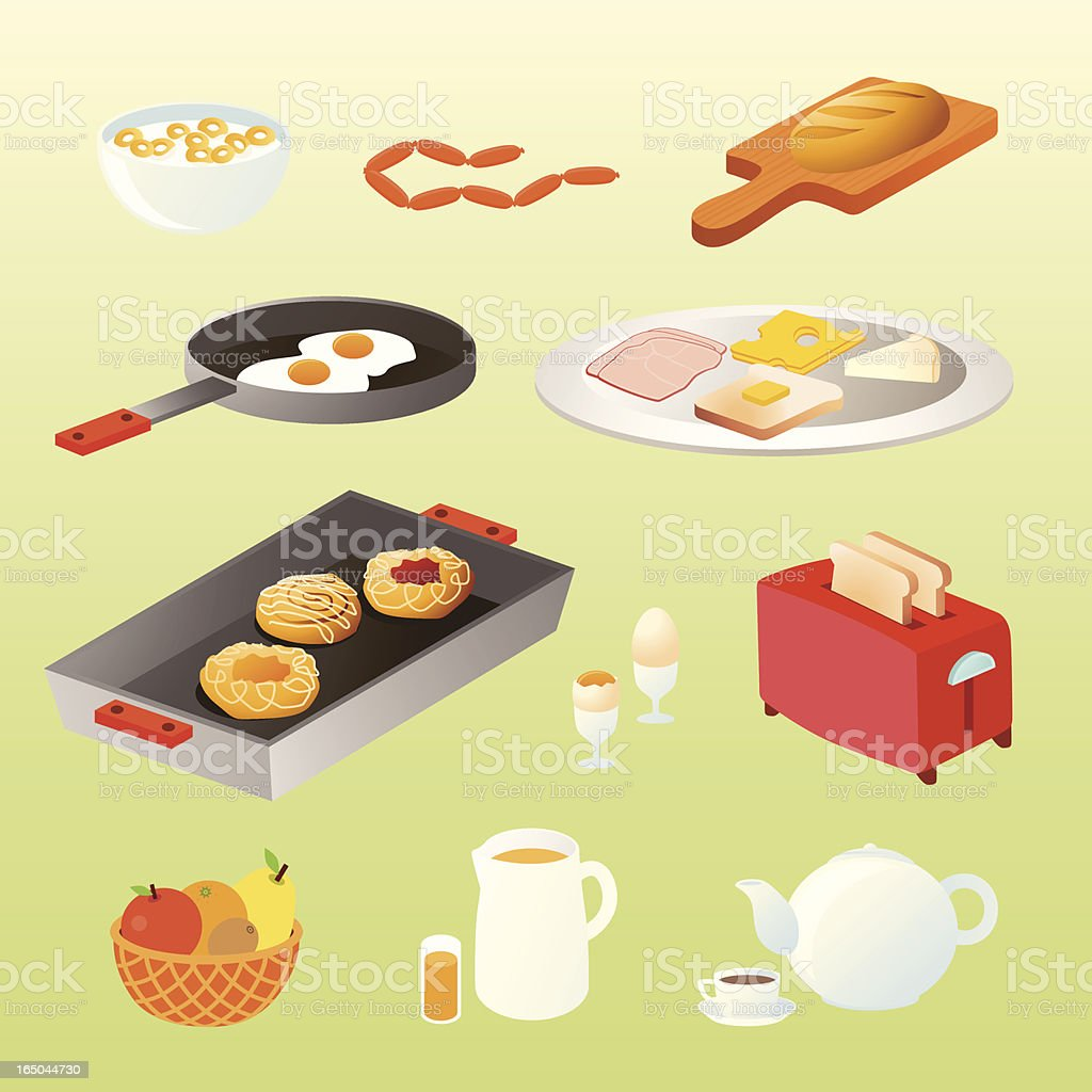 homemade breakfast icons vector art illustration