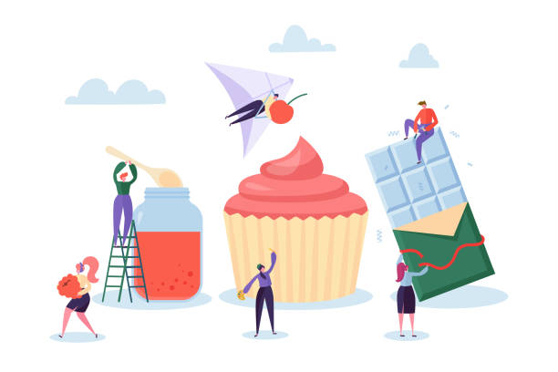 illustrazioni stock, clip art, cartoni animati e icone di tendenza di homemade chocolate sweets food production. confectioner making tasty berry cake and jam in glass jar. handmade organic confectionery manufacturing business line flat cartoon vector illustration - mercato frutta donna
