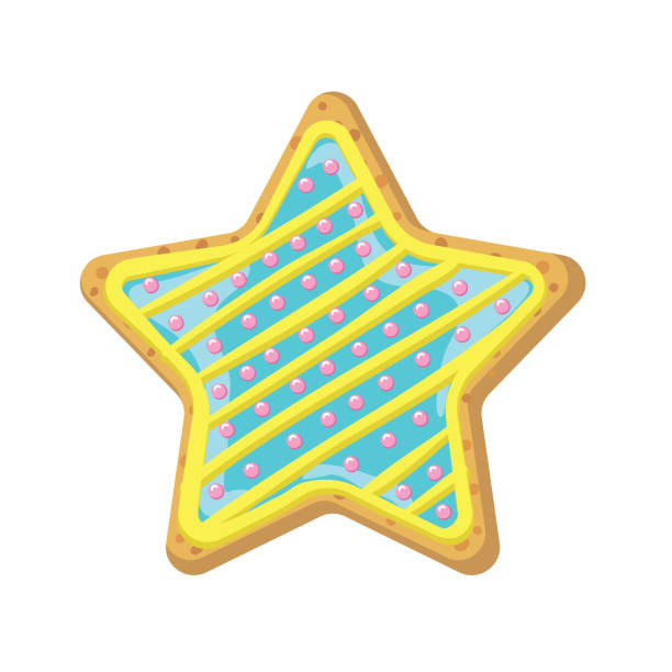 Homemade Decorated Star Cookie vector art illustration