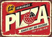 istock Homemade delicious pizza, vintage sign post for pizzeria restaurant 1226925854
