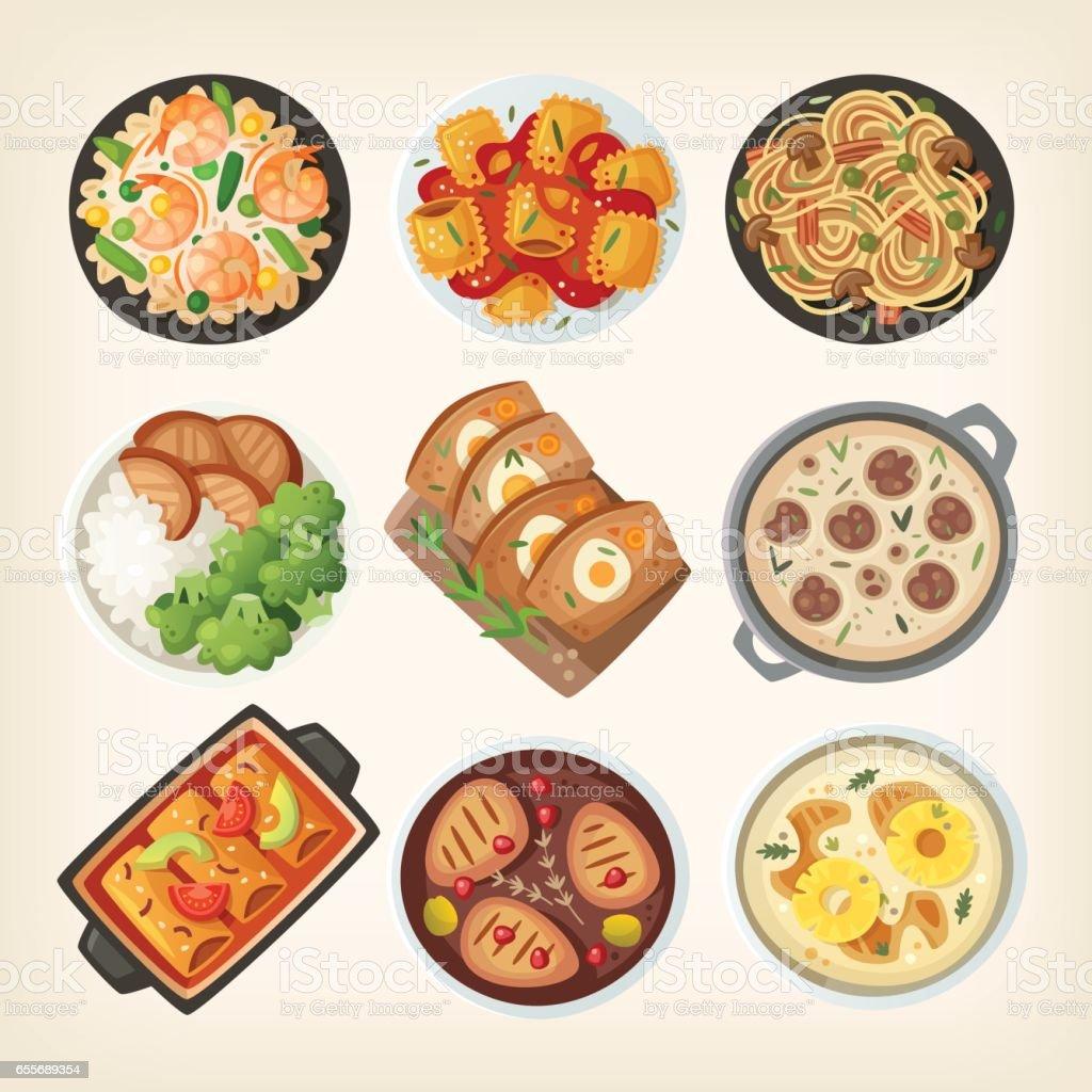 Platos de cena casera - ilustración de arte vectorial