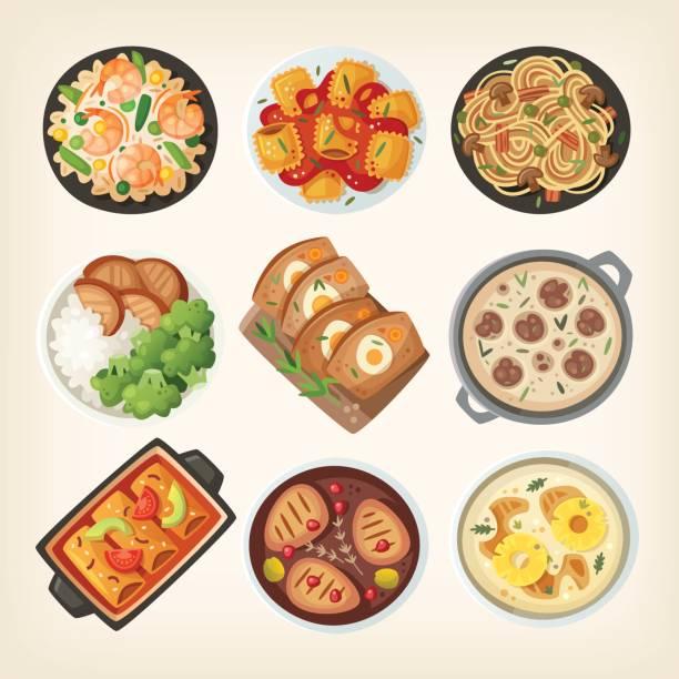 ilustraciones, imágenes clip art, dibujos animados e iconos de stock de platos de cena casera - comida casera