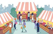 Homemade Food Fair and People Characters Cartoon. Men and Women Choosing Granola, Bakery Products, Salads at Stall. Cooked at Home Groceries Sale. Open Air Market. Vector Flat Illustration