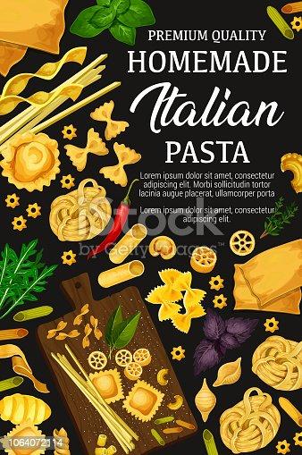 istock Homemade Italian pasta and herbs, vector 1064072114