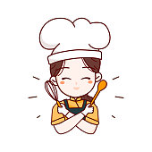 Homemade logo template elements with cute woman chef with holding whisk and wood spoon Kitchen Tools vector illustration