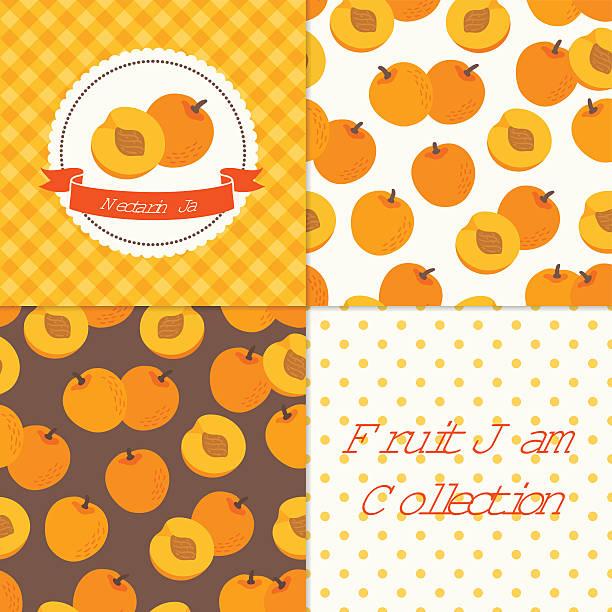 hausgemachte nektarine jam kollektion - nektarinenmarmelade stock-grafiken, -clipart, -cartoons und -symbole