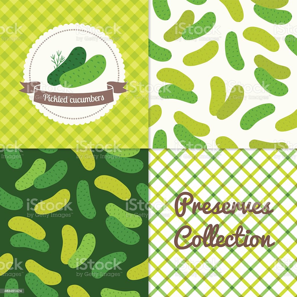 Homemade pickled cucumbers collection vector art illustration