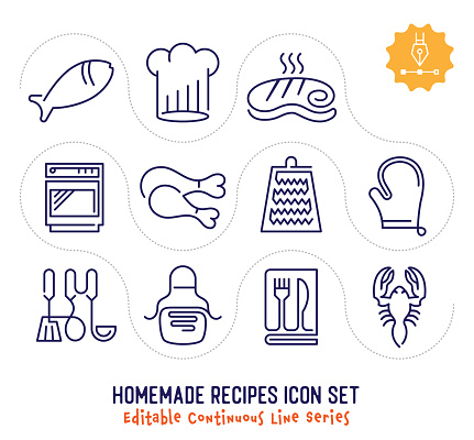Homemade Recipes Editable Continuous Line Icon Pack