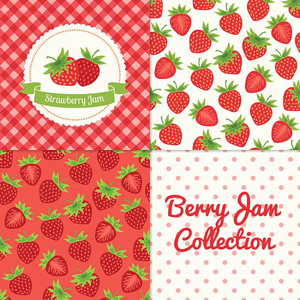 Homemade strawberry jam collection vector art illustration