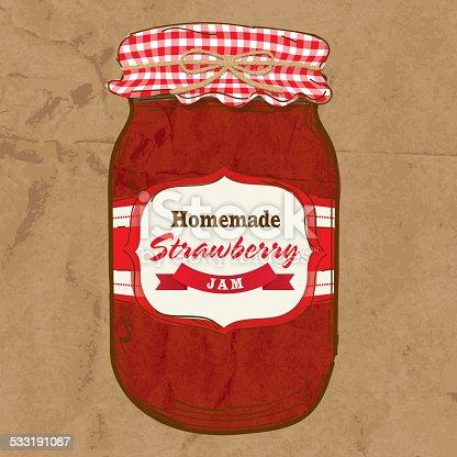 istock Homemade strawberry jam mason jar with checkered top 533191087