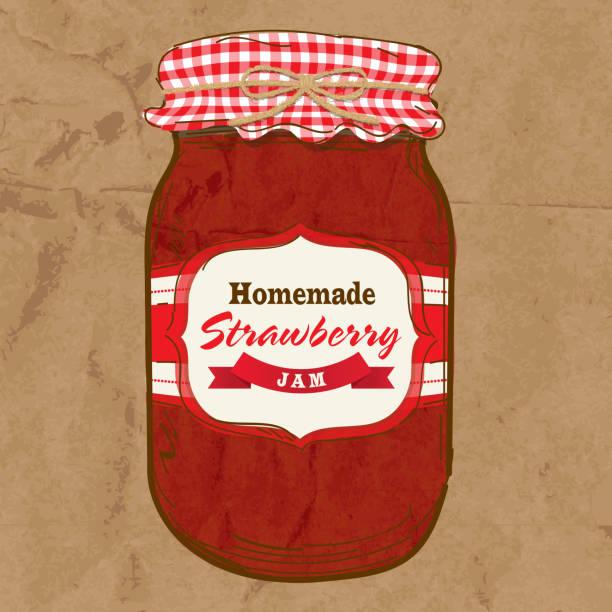 ilustrações de stock, clip art, desenhos animados e ícones de feito em casa compota de morango mason jar com casaco de chegada - jam jar