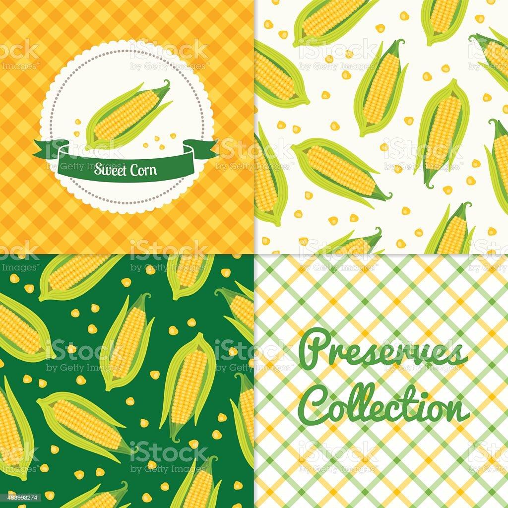 Homemade sweet corn collection vector art illustration