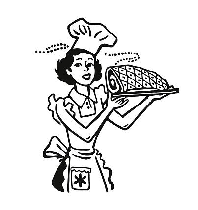 Homemaker Holding a Ham