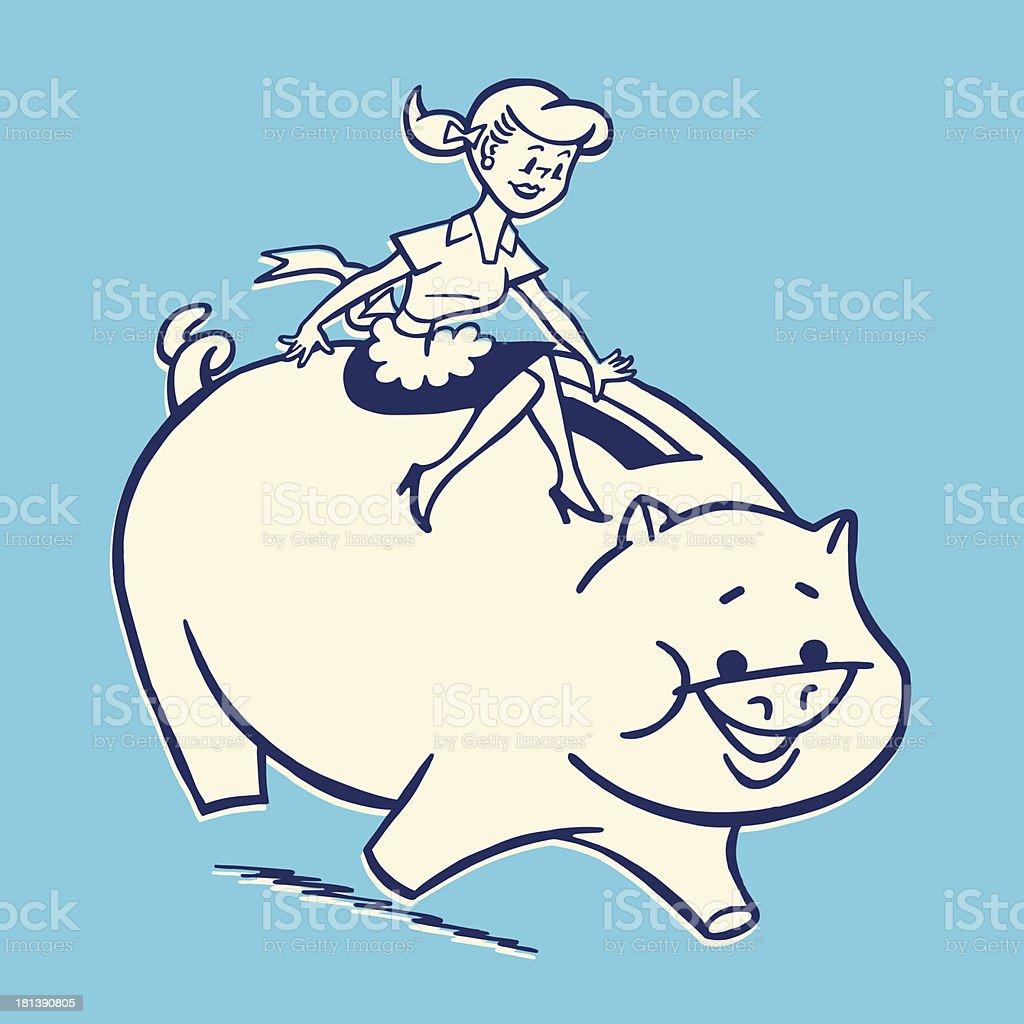 Homemaker Sitting on a Piggy Bank royalty-free stock vector art