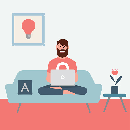 Working from home stock illustrations