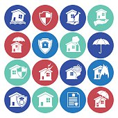 Homeowners Insurance Icon Set. Simple flat colored silhouette. Various icons representing different damage situations such as storms, tornado, house fires and floods.