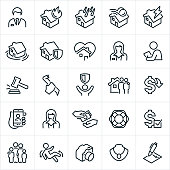 A set of homeowners insurance icons. The icons include a male and female insurance agent, house fire, thunderstorm, wind storm, lightning strike and flood all causing damage to homes. The icons also include security, claims adjuster, criminal, break-in, family and home valuables.