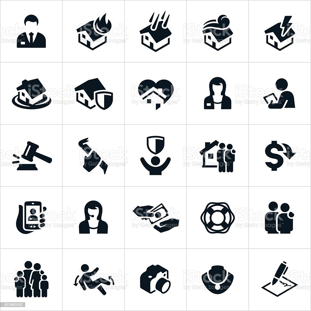 Homeowners Insurance Icons vector art illustration