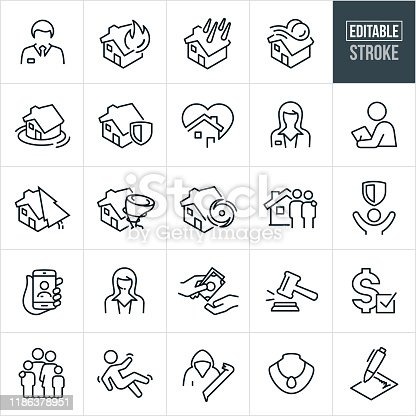 A set of homeowners insurance icons that include editable strokes or outlines using the EPS vector file. The icons include insurance agents, house fire, house damage, house flood, wind damage, insurance policy, home protection, customer, family, claims adjuster, tornado, hurricane, a couple in front of home, payment, contract, gavel, liability, criminal, jewelry and other related icons.