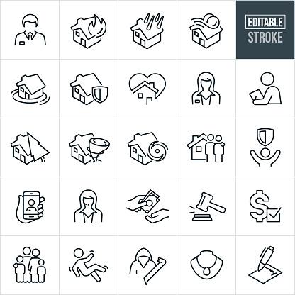 Homeowners Insurance Thin Line Icons - Editable Stroke