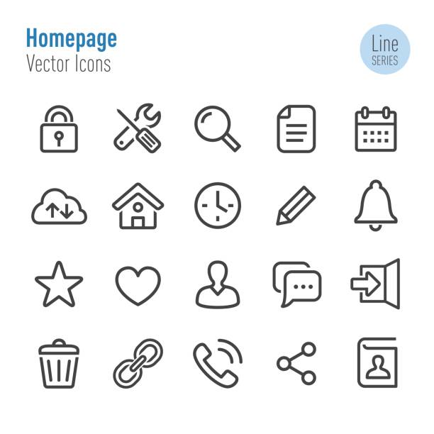 Homepage Icons - Vector Line Series Homepage, Interface, web page, internet, locking stock illustrations
