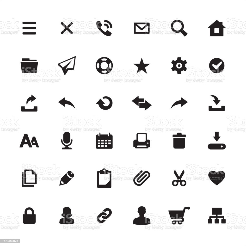 Homepage interface design required icons set vector art illustration