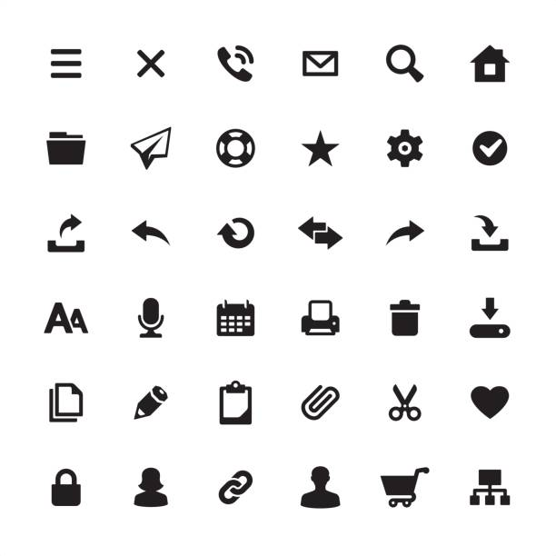 homepage interface design required icons set - arrow vector icon set stock illustrations, clip art, cartoons, & icons