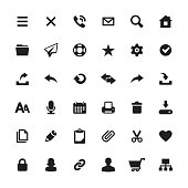Homepage interface design required icons set