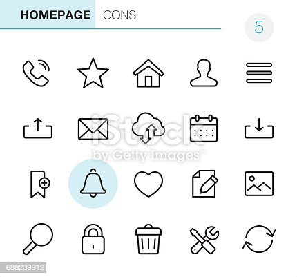 20 Outline Style - Black line - Pixel Perfect icons / Set #05