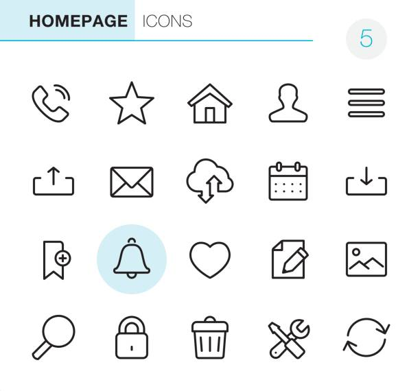 homepage - pixel perfect icons - social stock illustrations, clip art, cartoons, & icons