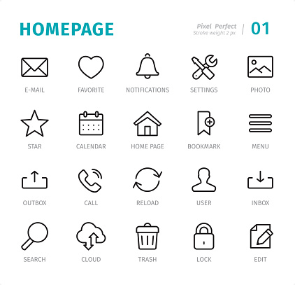 Homepage - 20 Outline Style - Single line icons with captions / Set #01 Designed in 48x48pх square, outline stroke 2px.  First row of outline icons contains: E-Mail, Favorite, Notifications, Settings, Photo;  Second row contains: Star, Calendar, Homepage, Bookmark, Menu;  Third row contains: Outbox, Call, Reload, User, Inbox;  Fourth row contains: Search, Cloud Computing, Trash, Lock, Edit.  Complete Signico collection - https://www.istockphoto.com/collaboration/boards/VT_7sDWo80OLh7foVxchBQ