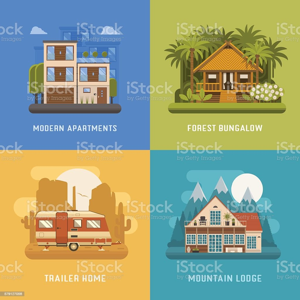 Homes and Houses Dwelling Set vector art illustration