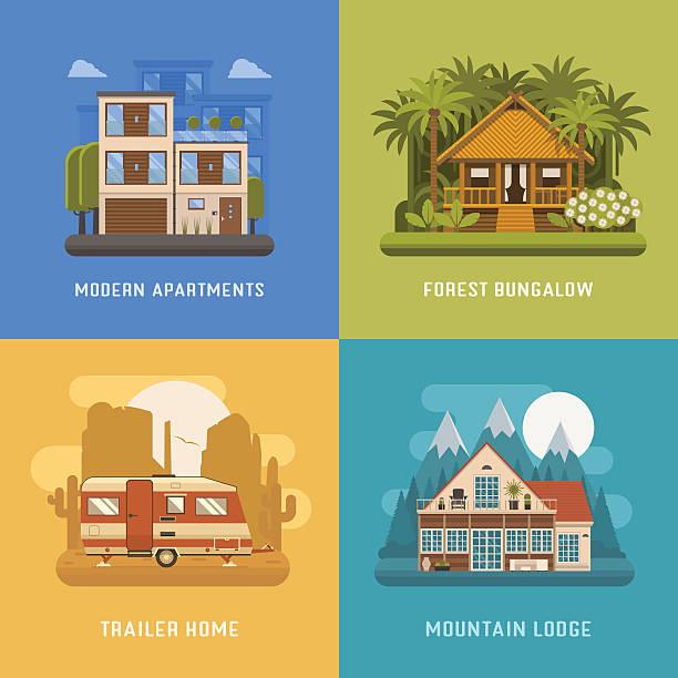 homes and houses dwelling set - villas stock-grafiken, -clipart, -cartoons und -symbole